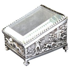 Antique French Napoleon III Era Pocket Watch Display Casket, Silvered Box: Hunt Theme with Hunters, Hounds & Deer