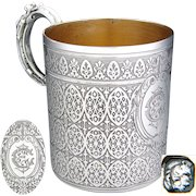"""Antique French Sterling Silver Coffee or Tea Cup, Ornate Gothic Style Pattern, """"CE"""" or """"EC"""" Monogram"""