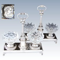 Magnificent PAIR (2) Antique French Sterling Silver Double Open Salt Service, SWANS & Winged Cherubs or Putti