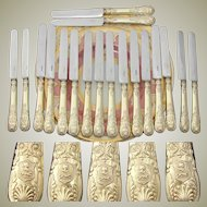 """Gorgeous Antique French 18pc 18k Gold on Sterling Silver Vermeil 8"""" Knife Set, Armorial Helmet & Dog Heraldry"""