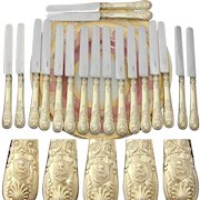 "Gorgeous Antique French 18pc 18k Gold on Sterling Silver Vermeil 8"" Knife Set, Armorial Helmet & Dog Heraldry"