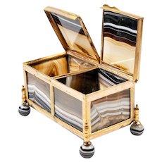 "3.75"" Antique Idar - Oberstein Agate Specimen Box, Casket in Dore Bronze Frame, Banded Agate Jewelry Box Casket"