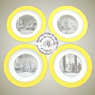 "Antique French Creil Faience 4pc 9 5/8"" Cabinet Plate Set, ""Histoire Romaine"", Yellow Borders"
