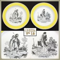 "PAIR of Antique Creil 8 3/8"" Cabinet Plates, Yellow Borders, ""Mars"" & ""Avriel"" Figural Scenes"