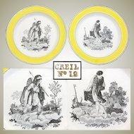 "PAIR of Antique Creil 8 3/8"" Cabinet Plates, Yellow Borders, ""Mars"" & ""Avriel"" Figural Scenes"