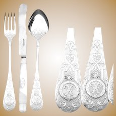 RARE Antique Sterling Silver 24pc Flatware Set, Armorial Heraldry: Owned by French President Félix Faure