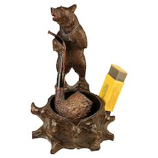 Antique Hand Carved Black Forest Swiss Pipe or Smoker's Tobacco & Match Stand, Big Bear