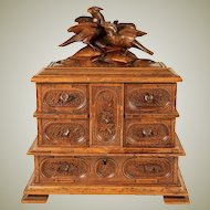 Fine Black Forest Carved Jewelry Chest, 3-Tier Box, Hunt Theme Bird Figures