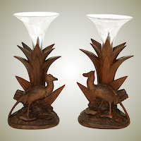 Antique Black Forest Carved Epergne Vase or Candle Stand Pair, Game Hens, Original Intaglio Glass Flutes