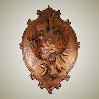 Fine 19th c. Antique Hand Carved Black Forest Game Plaque, Fan Tail Pheasant - Fruits of the Hunt Theme