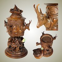 "RARE Antique Swiss Black Forest 15.5"" Smoker's Stand, Trophy Style Chamois Figures, 2-Tone Glass Eyes"