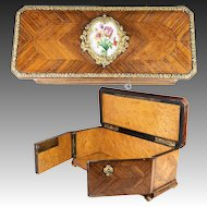 Antique French Kingwood Desktop or Jewelry, Documents Box, Casket, Parquet Work