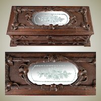 Fine Antique Black Forest Hand Carved Wood Gloves Box, Engraved Mirror Top