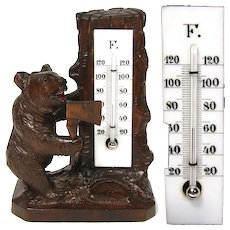 "Antique Hand Carved Black Forest Thermometer Stand, Standing Bear with Ax, 6"" Tall"