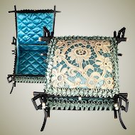 Antique French Handmade Jewelry or Hanky Box, Casket, Silk Satin, Bobbin Lace, Napoleon III (c.1850-70)