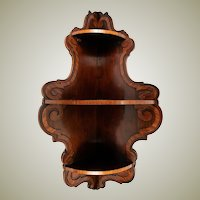 "Gorgeous Antique French 29"" Tall Corner Shelf, Contrasted Country Walnut Hardwood"