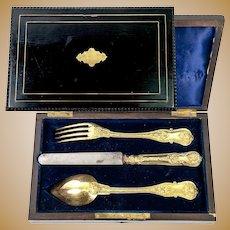 Antique French 18K Gold Vermeil on .800/1000 Silver 3pc Place Setting, Original Box, Napoleon III Era, c.1850-70