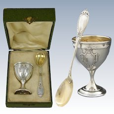 Elegant Antique French Sterling Silver Egg Cup with Spoon, Original Box