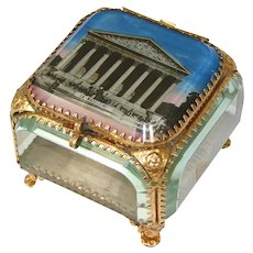 Lg Antique French Gilt Ormolu & Beveled Glass Casket, Eglomise Souvenir: La Madeleine