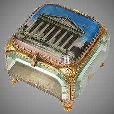 Lg Antique French Gilt Ormolu & Beveled Glass Casket, Eglomise Souvenir: La Madeleine