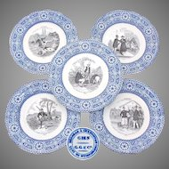 "Antique French Gien Faience 5pc Cabinet Plate Set, ""Bouffoneries"" Figural Scenes, Blue & White Borders"