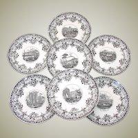 "Antique Sarreguemines Faience 7pc 8 3/8"" Cabinet Plate Set, Grand Tour Europe City Scenes"