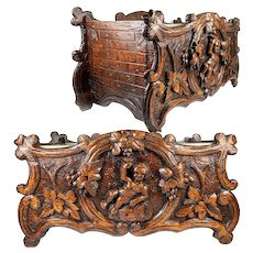 Superb Antique 19c Swiss Black Forest Carved Wood Jardiniere, Wine Cooler