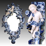 """Antique Dresden or Meissen Porcelain Mirror, 3-Candle Sconce w Putti, 19"""" Tall, 11.75"""" Widest"""