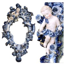 "Antique Dresden or Meissen Porcelain Mirror, 3-Candle Sconce w Putti, 19"" Tall, 11.75"" Widest"