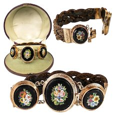 Antique 14k Gold Mounted Victorian Era Italian Micro Mosaic Plaque Bracelet in Box, Micromosaic