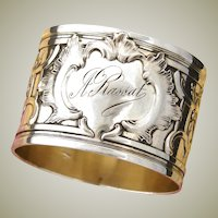 "Heavy Antique French Sterling Silver 2"" Napkin Ring, Ornate Louis XVI Style, ""A. Rassat"" Inscription"