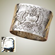 "Antique French Sterling Silver Napkin Ring, Ornate Louis XVI or Rococo Pattern, ""HV"" Monogram"
