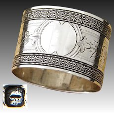Antique French Sterling Silver Napkin Ring, Frieze Style Floral Band Decoration