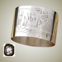 "Antique to Vintage French Sterling Silver Napkin Ring, Guilloche Style Floral Decoration, ""LL"" Monogram"