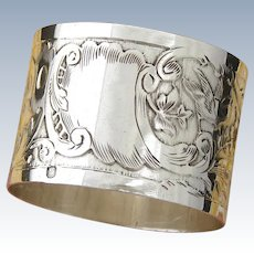 Superb Antique French Sterling Silver Napkin Ring, Bird & Butterfly Figures, Musical Instruments