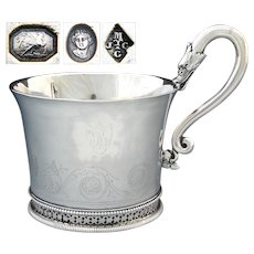 Rare Antique French Sterling Silver Oversized Chocolate, Coffee or Tea Cup, Swan Figures, c.1809-1819