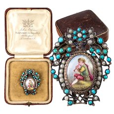 Antique French 18k Gold and Sterling Silver, Kiln-fired Enamel & Seed Pearl Mourning Brooch
