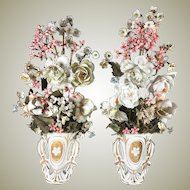 """Antique French Hand Made Porcelain Flower Bouquet PAIR, in Old Paris Vase, 16"""" Tall"""