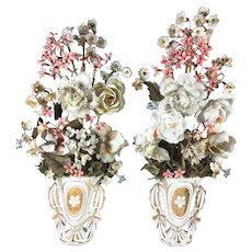 "Antique French Hand Made Porcelain Flower Bouquet PAIR, in Old Paris Vase, 16"" Tall"