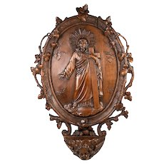 "Elegant Antique French Hand Carved Wood 14"" Holy Font, Plaque with Stunning Jesus"