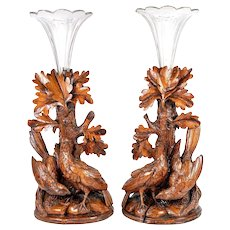 Antique Hand Carved Wood Black Forest Game Hens, Epergne or Candle Stands, Original