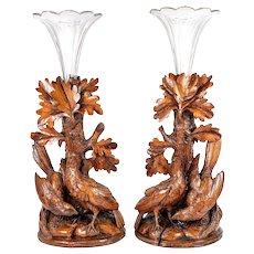 Antique Hand Carved Wood Black Forest Game Hens, Epergne or Candle Stands, Original