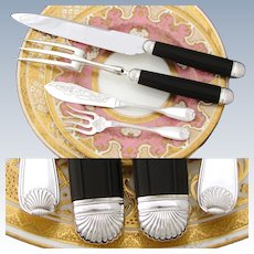 Elegant Antique French PUIFORCAT Sterling Silver 4pc Serving Utensil Set, Meat Carving & Condiments