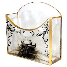 Elegant Antique French or Bohemian Thick Cut Glass or Crystal & Enamel Stationery Stand