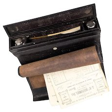 Antique French Scribe's Leather Roll-up Travel Desk, Writer's Set, 2 Inkwells, Quill Pen