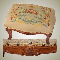 "Antique Edwardian Era Louis XV 17"" Floral Needlepoint & Carved Walnut Footstool, Foot Stool"