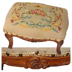 "Antique Edwardian Era Louis XV 17"" Floral Needlepoint & Carved Walnut Footstool, Foot Stool"