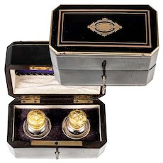 Antique French Napoleon III Era Perfume or Scent Box, Caddy, 2 Bottles, Flasks, Stoppers, c.1850s