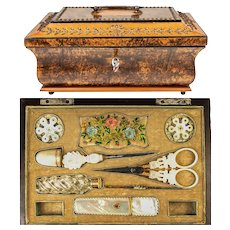 Antique French Palais Royal Sewing Box, Tools, Mother of Pearl, 18k Gold, Perfume, Scissors, Thimble, Etc c.1800