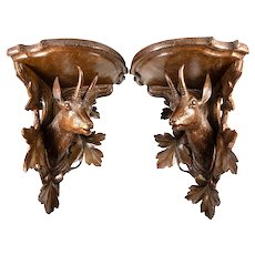 "BIG Pair Antique Black Forest, Swiss Hand Carved Wall or Bracket Shelf Set, 13"" x 10"" x10"" Corner, 20"" Paired - Game Animals"